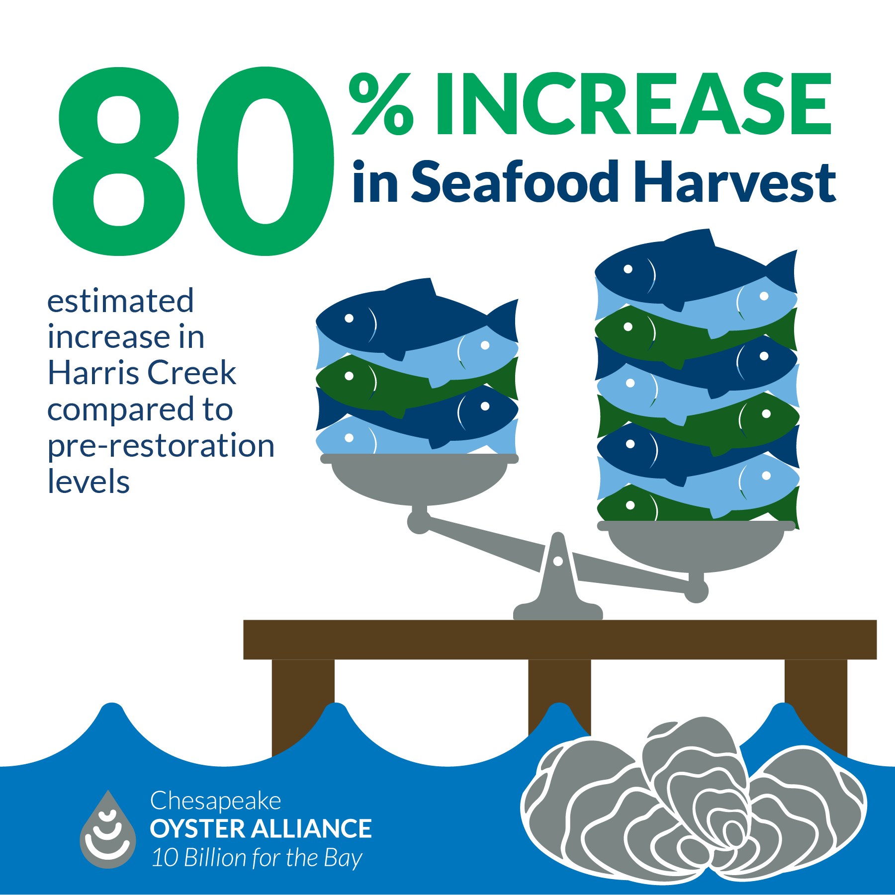 80% increase in seafood harvest estimated in Harris Creek compared to pre-restoration levels.